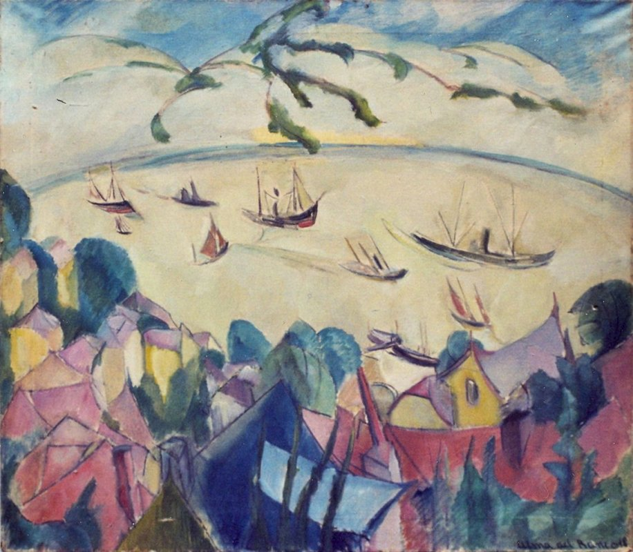 Alma del Banco: View from the Süllbergterrasse, Blankenese, on the Elbe, 1918<br />Private collection © Estate of Alma del Banco