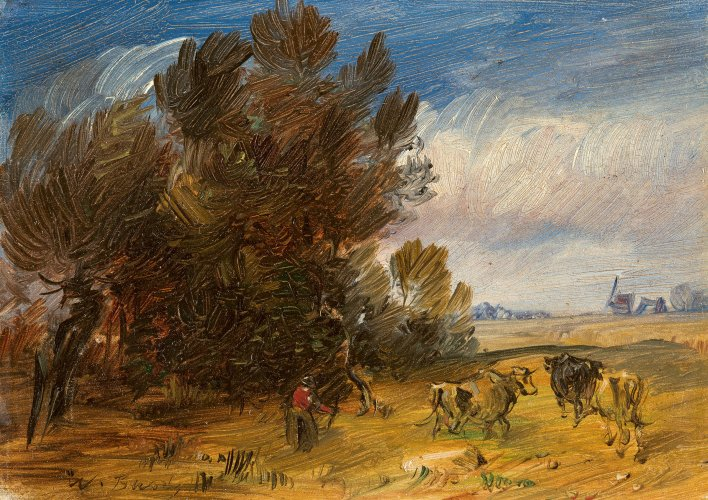 Wilhelm Busch: Autumn Wooded Landscape with Herdsman and Cows, c. 1889, oil on board, 18.5 x 13.5 cm