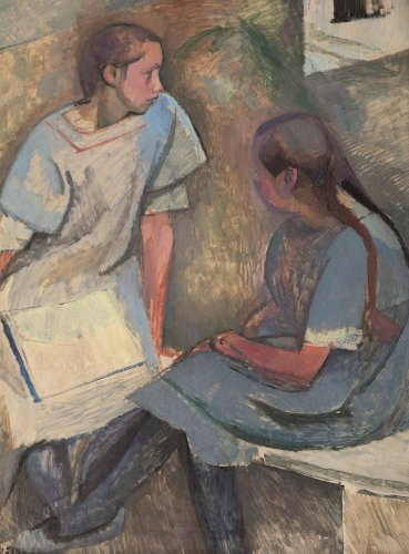 Franz Nölken: Two Seated Girls in Conversation, 1912