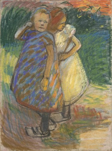 Franz Nölken: Two Small Girls Standing Side by Side in a Garden, 1907