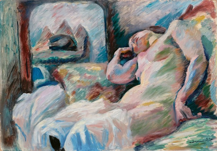 Franz Nölken: Reclining Female Nude before a Mirror, 1915