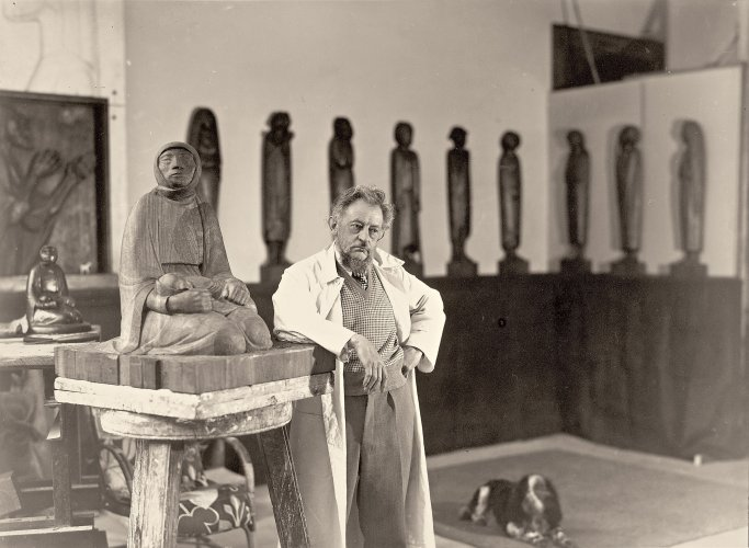 Ernst Barlach in his studio, 1935