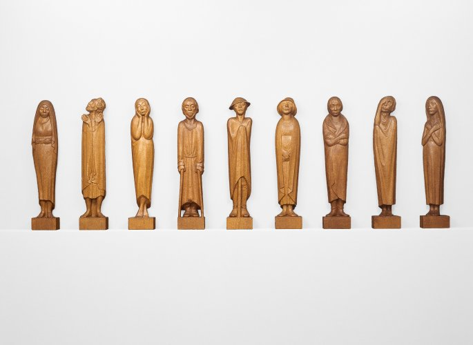 Ernst Barlach: Frieze of the Listeners (The Dreamer / The Believer / The Dancer / The Blind One / The Wanderer / The Pilgrim / The Sensitive One / The Blessed / The Expecting One), 1930–1935